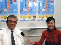 介護サービスについて説明する(社)鹿児島県医師会常任理事の林芳郎先生(写真左)と和田由樹健康リポーター(写真右)
